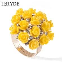 H:HYDE High Quality Hot Sale Blooming Enamel Flower Rings Br