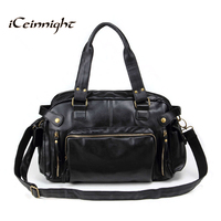 Vintage Men Messenger Bags High Quality Soft Pu Leather Solid Hand Bags Large Capacity Travel Men