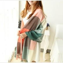 2016 Fashion cashmere scarf Women Wool Winter Scarf Women Spain Plaid Scarf Thick Brand Shawls and Scarves foulard