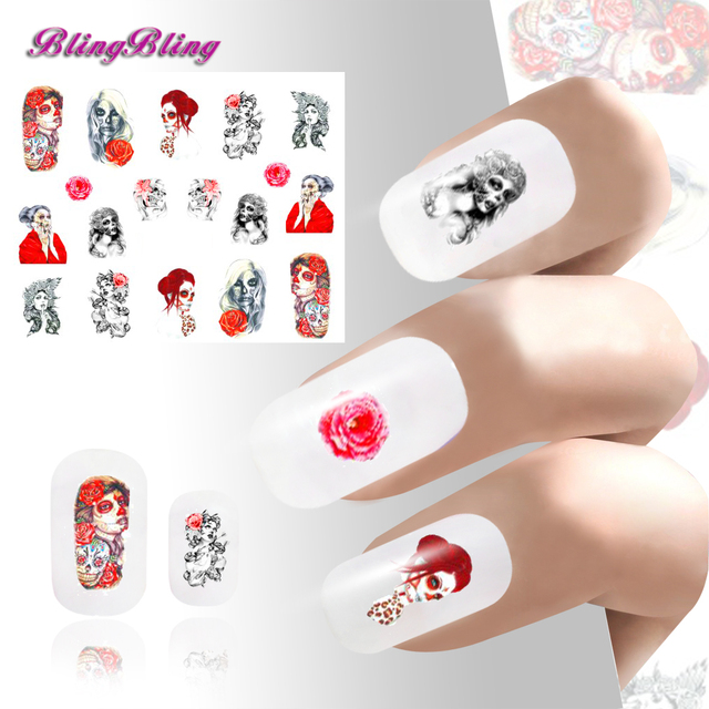 2pcs Diy Nail Art Sticker Waterslide Stickers Decals Wraps For Nails Decoration Cosplay Scary