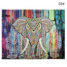 Pared Alfombra Tapiz Elefante de Color Decorativo Impreso Mandala Tapiz Indio Boho Artesanías