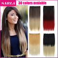 1PC Ombre Hair Extension Clip In Hair Extensions 60cm 24inch 130g Long Straight Synthetic Hairpiece Free Shipping  666