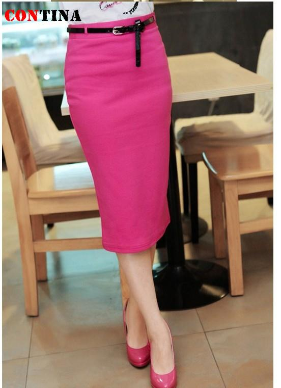 d050dbd5ca Women Office Skirt Knee Length Long Slim Pencil Skirt High Elastic Bandage  Candy Color Skirts Work Wear Saia Longa Femininas-in Skirts from Women's  Clothing ...
