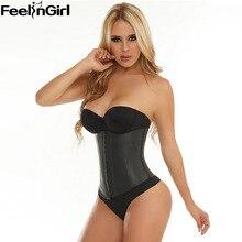 FeelinGirl 9 Steel Bone Waist Trainer Corset 100% Latex Corset Sexy Women Latex Waist Cincher Slimming Shapewear Bodysuit -E3