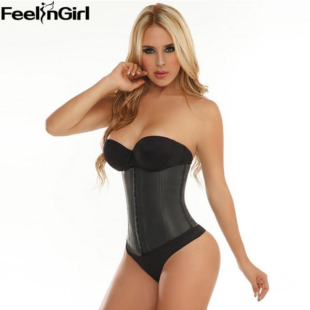 509bf98fe2 FeelinGirl 9 Steel Bone Waist Trainer Corset 100% Latex Corset Sexy Women  Latex Waist Cincher