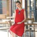 0023 #2017 Лето Красный Плиссированные Шифон Материнства Долго Dress Черный Танк Жилет Одежда для Беременных Беременность Одежда Свадебные Платья