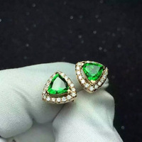 girlfriend gift Natural Semi precious stones green real diopside triangle stud Earrings high quality Women jewelry