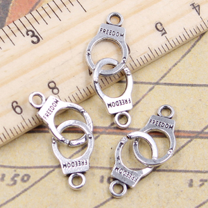 10pcs Charms Handcuffs Freedom 30x20mm Antique Silver Color Pendants Making DIY Handmade Jewelry Factory Wholesale
