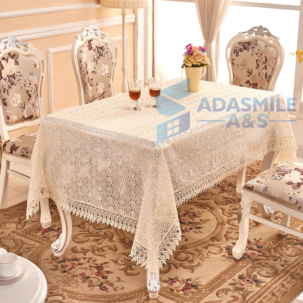 adasmile marque 2016 nouvelle dentelle crochet nappe rectangulaire polyester nappe transparente. Black Bedroom Furniture Sets. Home Design Ideas