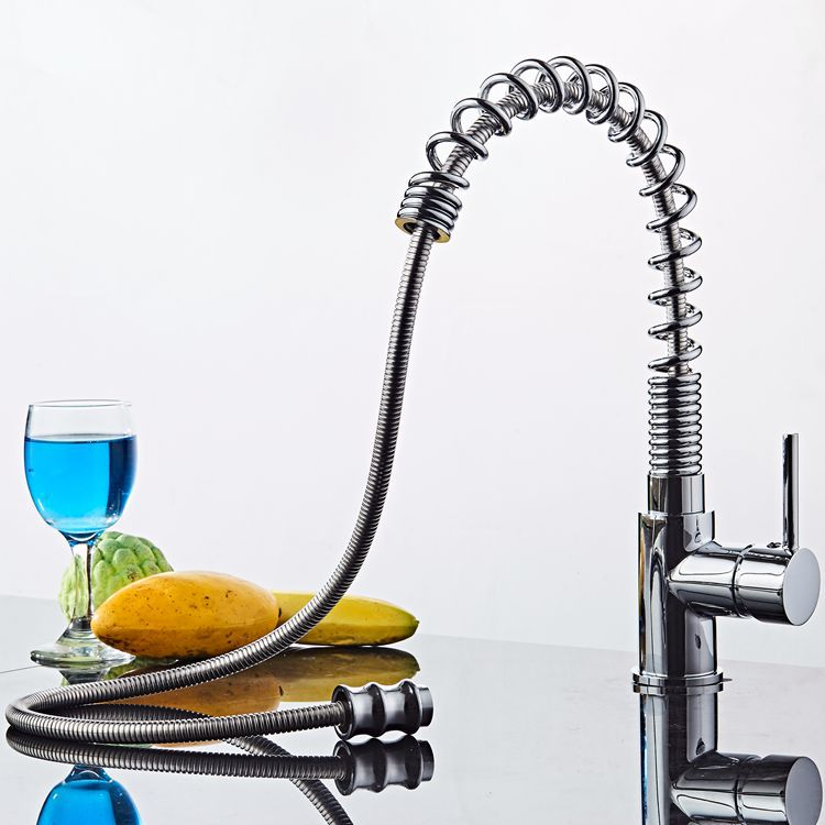 Kitchen Faucet Chrome Brass Tall Kitchen Faucet Mixer Sink Faucet Pull Out Spray Single Handle Swivel Spout Mixer Taps