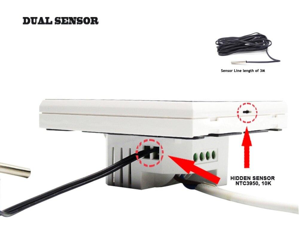 ЕС крепление двойной сенсор умный напольный Отопление термостат Wi Fi нет, NC 3A для Белый Черный дополнительно