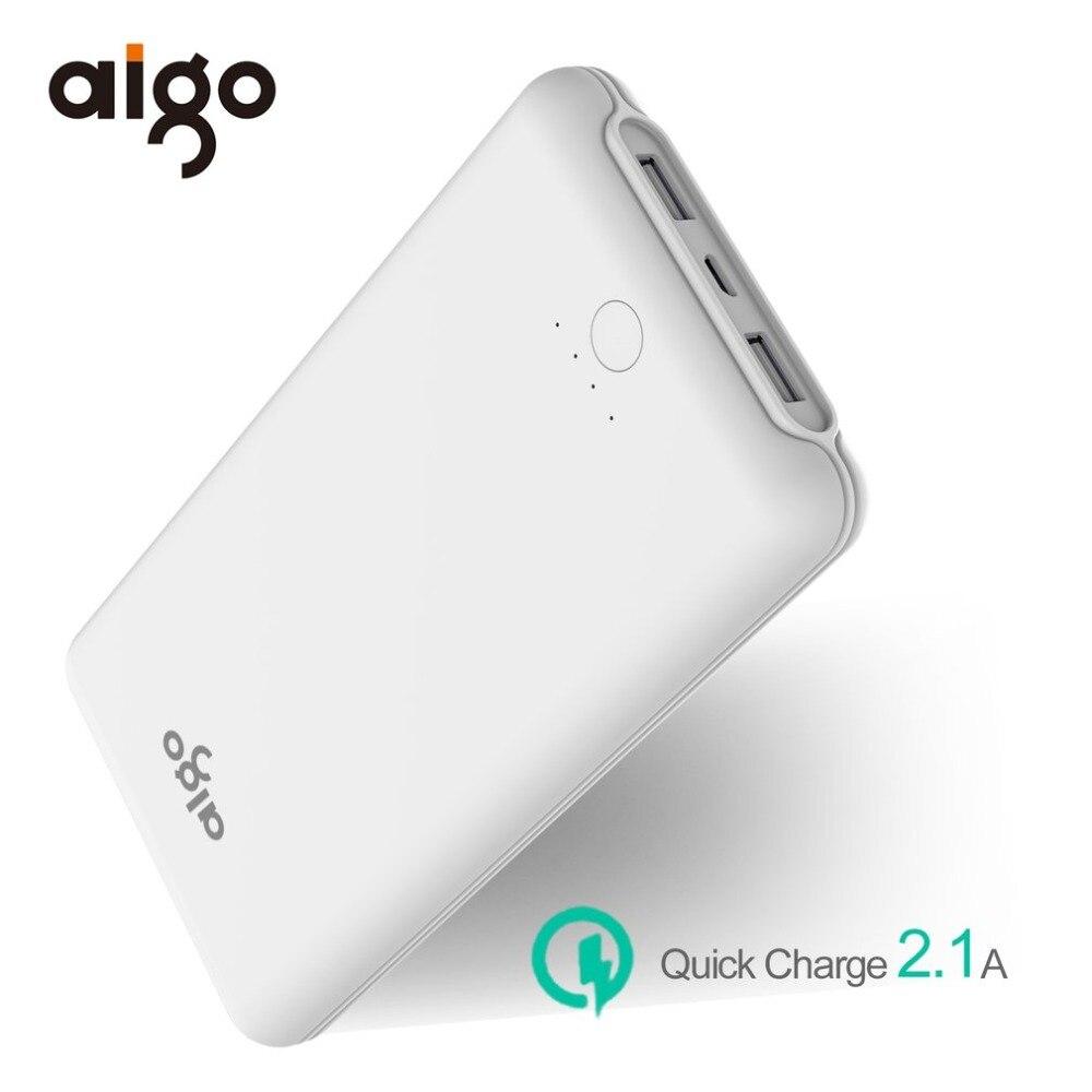 Aigo 20000 mAh rapide chargeur batterie externe mince polymère batterie 2.1A double USB charge pour Xiaomi Samsung tablettes 20000 mah appauvrbank