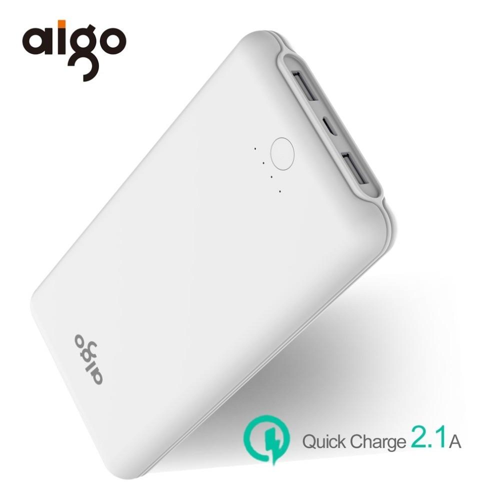 Aigo 20000mAh Quick Charge Power Bank Slim Polymer Battery 2.1A Dual USB Charging for Xiaomi Samsung Tablets 20000 mah Poverbank