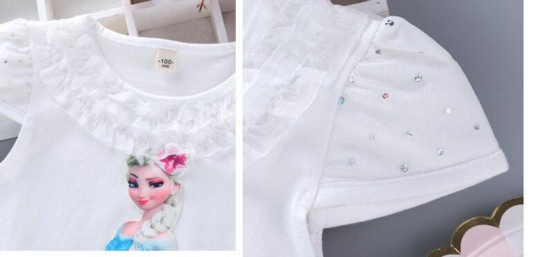 Girls New Summer Princess T-Shirt Elsa Childen Cotton Tees Lace T Shirt 3D Diamond Appliques Kids Birthday Party Top Clothing 6