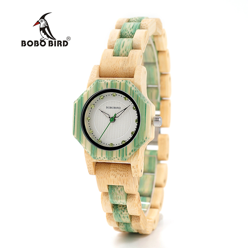BOBO BIRD Female Wooden Watch Fashion Colors Bling Scales Dial Faces Wooden Watch from Tree Woman in Box Drop Shipping Orologi drop ship acceptable tree bird