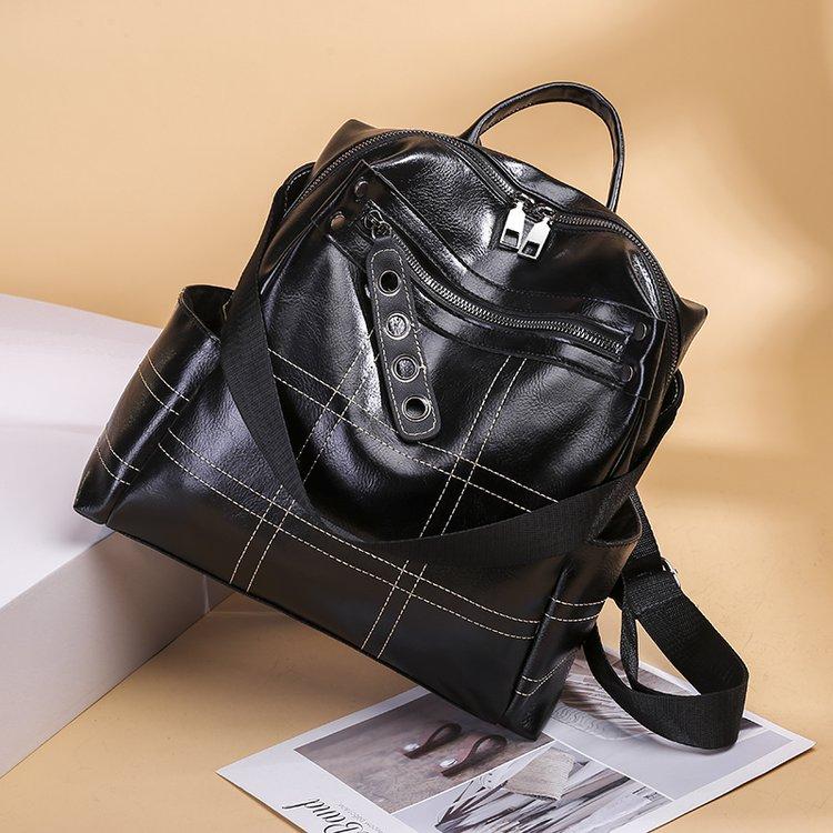 fa27c2aced Simple Brun Pour Collège Dos De Cuir brown 9n01 Sac À Bandoulière Femmes  Mode Noir Black ...