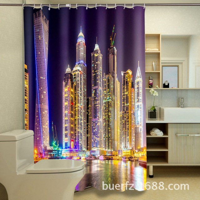 Night At Dubai Building 3D Printing Waterproof Polyester Shower Curtains Cool Curtain For Bathroom