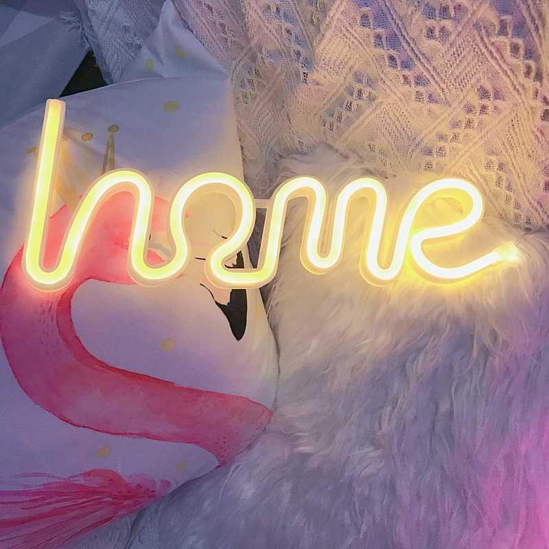 FÜHRTE Hause Neon Wort Zeichen Neon Buchstaben Licht Kunst Dekorative Lichter Wand Dekor für Kinder Baby Zimmer Weihnachten Hochzeit Party