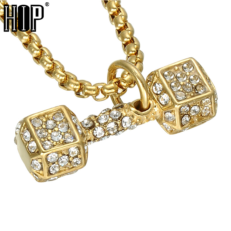 HIP Hop Gold Color Barbell Men Pendant & Necklace Ice Out Bling Fitness Dumbbell Stainless Steel Titanium Necklaces Jewelry equte pssm92c5 fashionable men s titanium steel glass pendant necklace blue silver