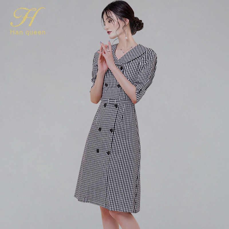H Han queen летнее двубортное клетчатое платье для женщин 2019 новое ретро клетчатое платье в клетку элегантное ТРАПЕЦИЕВИДНОЕ ПЛАТЬЕ с воротником «Питер Пэн»