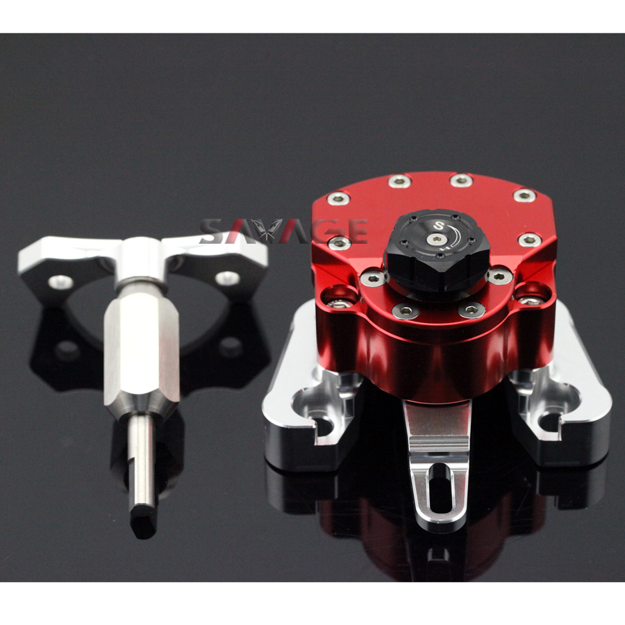 For DUCATI MONSTER 696 2008-2014 Red Motorcycle Reversed Safety Adjustable Steering Damper Stabilizer with Mount Bracket диалог у новогодней ёлки
