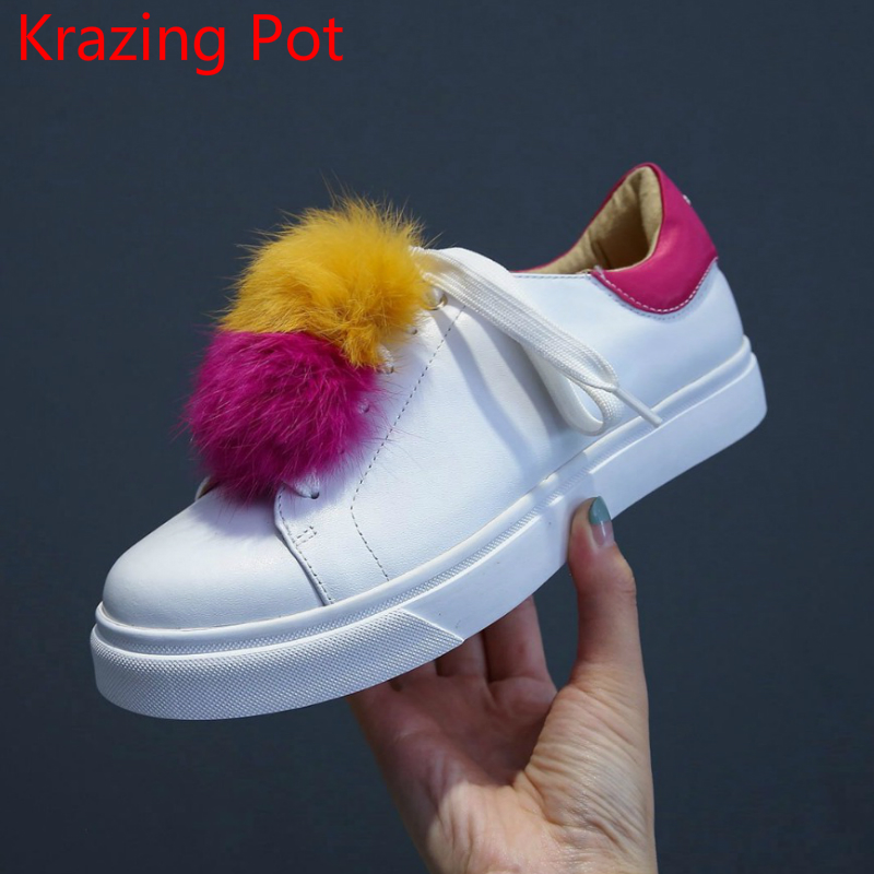 Fashion Genuine Leather Superstar Lace Up Party Sneaker Solid Causal Shoes Mixed Colors Rabbit Fur Women Vulcanized Shoes L00 adidas superstar shell toe fashion sneaker