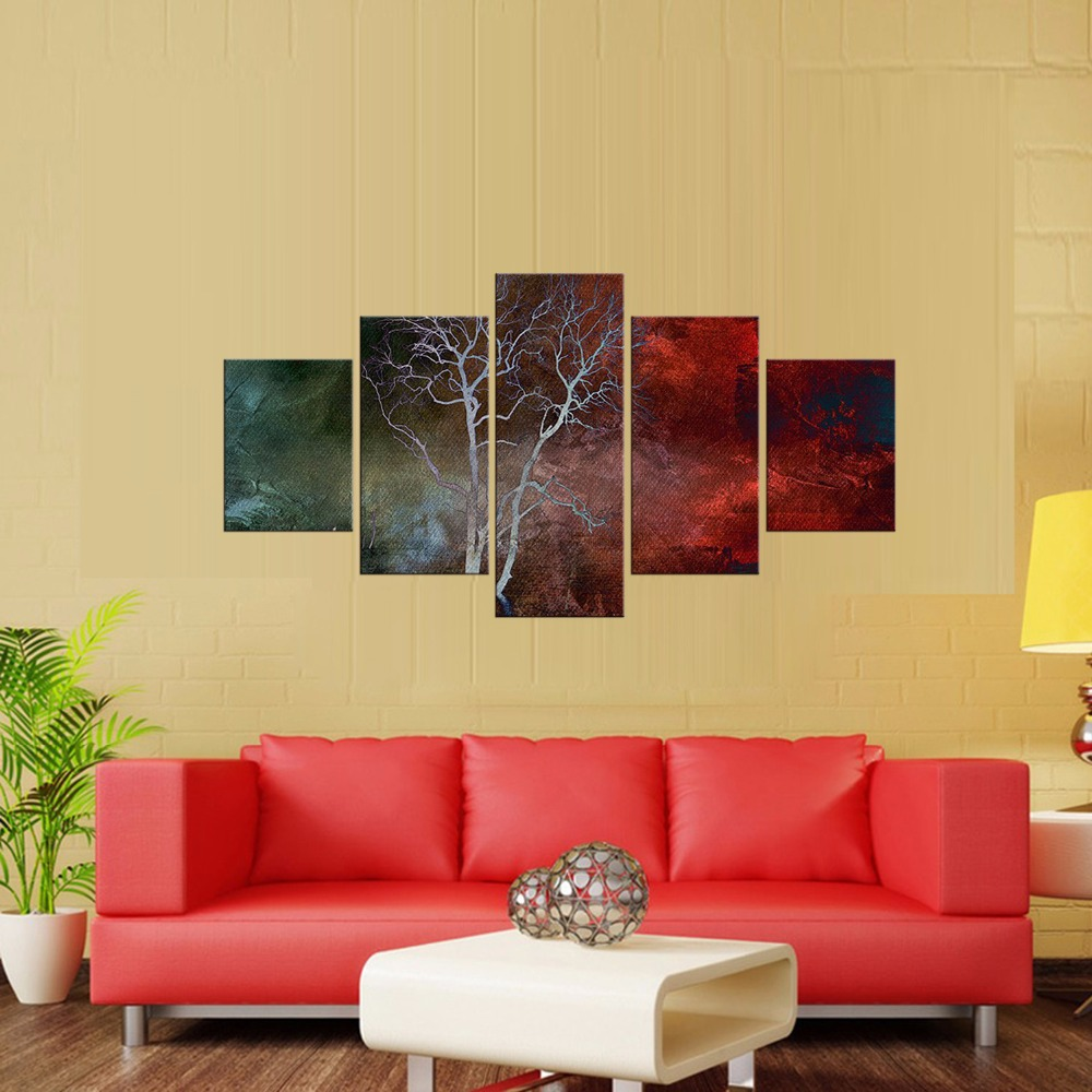 Framed 5 Piece Picture Abstract branches Canvas Art Print Oil ...