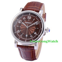 Debert 43mm Kawy Dial Skórzany Pasek Automatyczne Mens Wrist Watch Miyota 21 Klejnotów, reloj de pulsera de los hombres