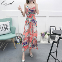 2019 women new sling cotton silk dress in the long beach summer large size floral Bohemian