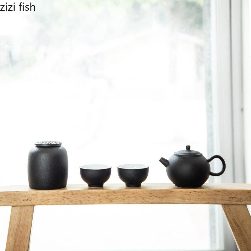 Ensemble de thé Kung Fu en céramique de Style chinois, une théière et deux tasses ensemble de thé de voyage Portable