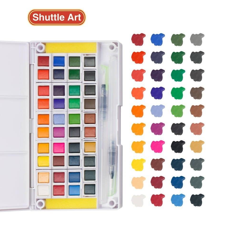 Set de peinture aquarelle, 40 couleurs aquarelles jeu de croquis de champ avec brosse-2 pinceaux à eau-2 éponges-1 Palette de mélange, parfait