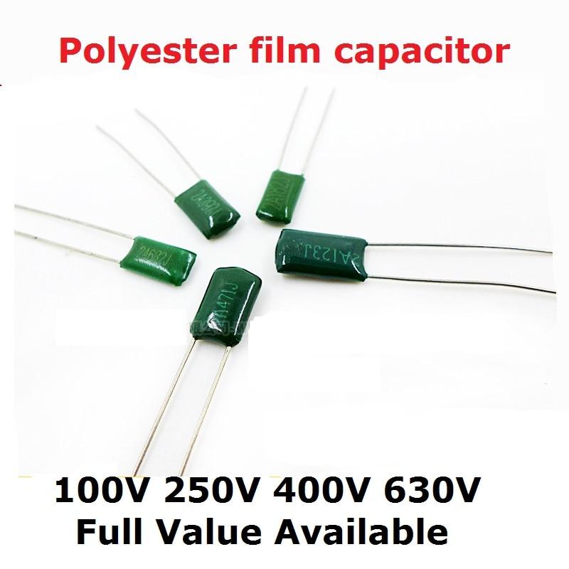 50PCS 100V 2A102J 2A152J 2A222J 2A471J 2A221J 2A331J 330/220/390/470/PF 1.5/2.2/1NF 0.0015UF/22UF  Polyester Film Capacitor 102