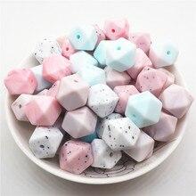 Chenkai 100 pièces 14mm sans BPA bricolage Silicone hexagone anneau de dentition pendentif perles bébé sucette factice sensoriel jouet accessoires mélange couleur