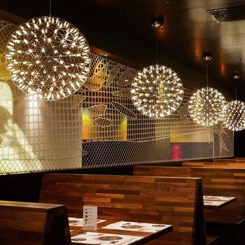 Modern Basit Paslanmaz Çelik LED Kolye Işıkları Kıvılcım Topu Asılı Lamba Aydınlatma Armatürü Otel Lobisinde Süspansiyon Işıkları