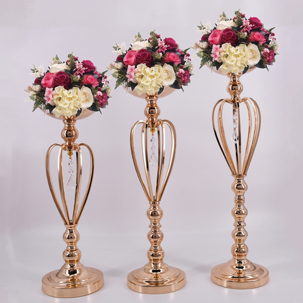 Classic Metal Golden Candle Holders Wedding Table Candelabra Home Party  Centerpiece Flower Rack Crown Pattern Vase