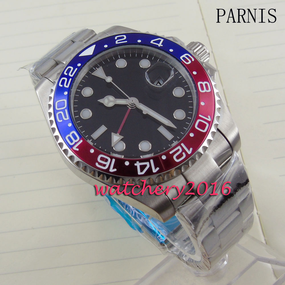 new 40mm Parnis black dial blue & red bezel white number Automatic movement Men