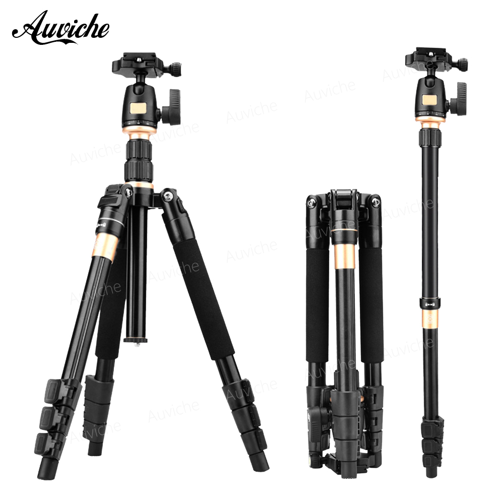 цена на QZSD Q555 Professional Portable Aluminum alloy Camera Tripod&Monopod for Canon Nikon Sony SLR Camera Speedlite Flash