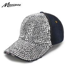 d6eb162ad11 2018 Rhinestones Luxury Denim Baseball Cap For Women Summer Sun Hat Girls  Snapback Hip hop hat