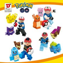 10Sets 40PCS New Pocket Monster Squirtle Charmander Pikachu Bulbasaur Building Blocks Pokemon Set Bricks  Minifigures Legao  Toy