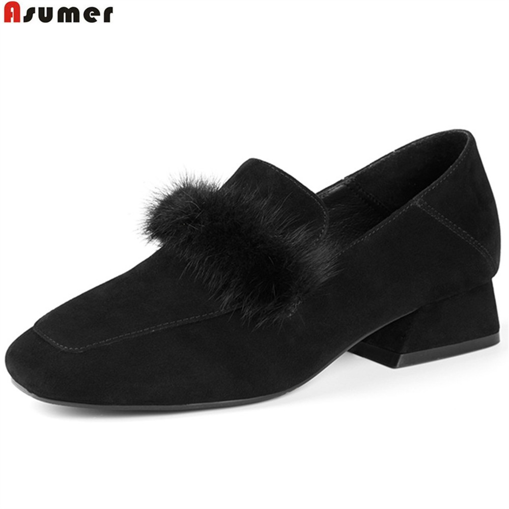 ASUMER black army green fashion spring autumn new women pumps square toe kid suede ladies shoes square heel low heels shoes creepers platform korean suede medium wedge autumn high heels shoes big size casual black pumps green round toe ladies fashion
