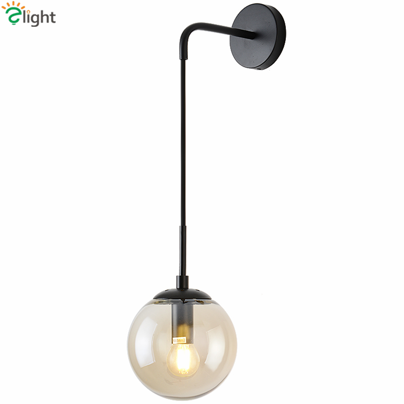 Rh American Simple Glass Globe Wall Lamp Metal Led Sconces For Livng Room Bedsoom Lustre Bracket Light Amber/gray/clear Glass Lights & Lighting Led Lamps