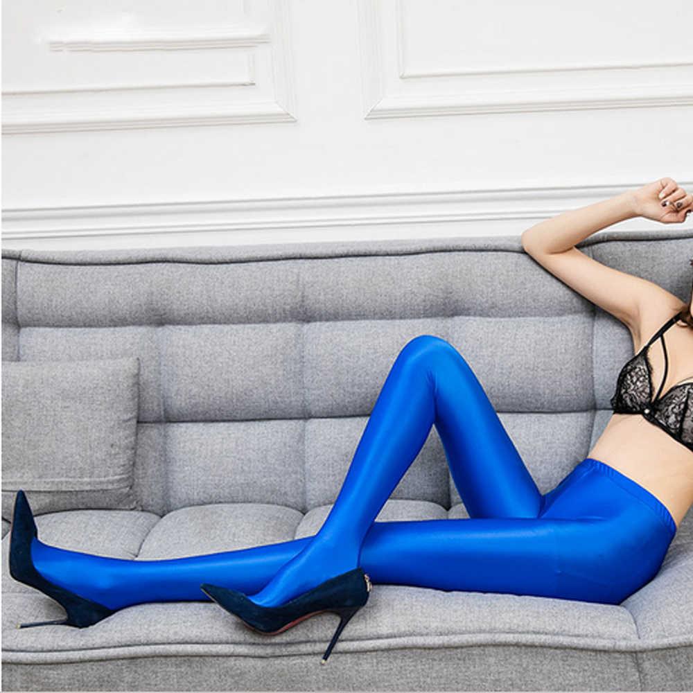NESTwomen Calzamaglia collant Sexy aderente di colore solido dei pantaloni di raso collant lucido sexy Calzamaglia per le donne Olio collant LEOHEX