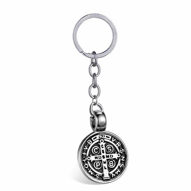 6236e6c2b41 ... ZFVB Saint Benedict Medal Keychain Pendant Men 316L Stainless steel  Never Fade Catholic Church Key Chain ...