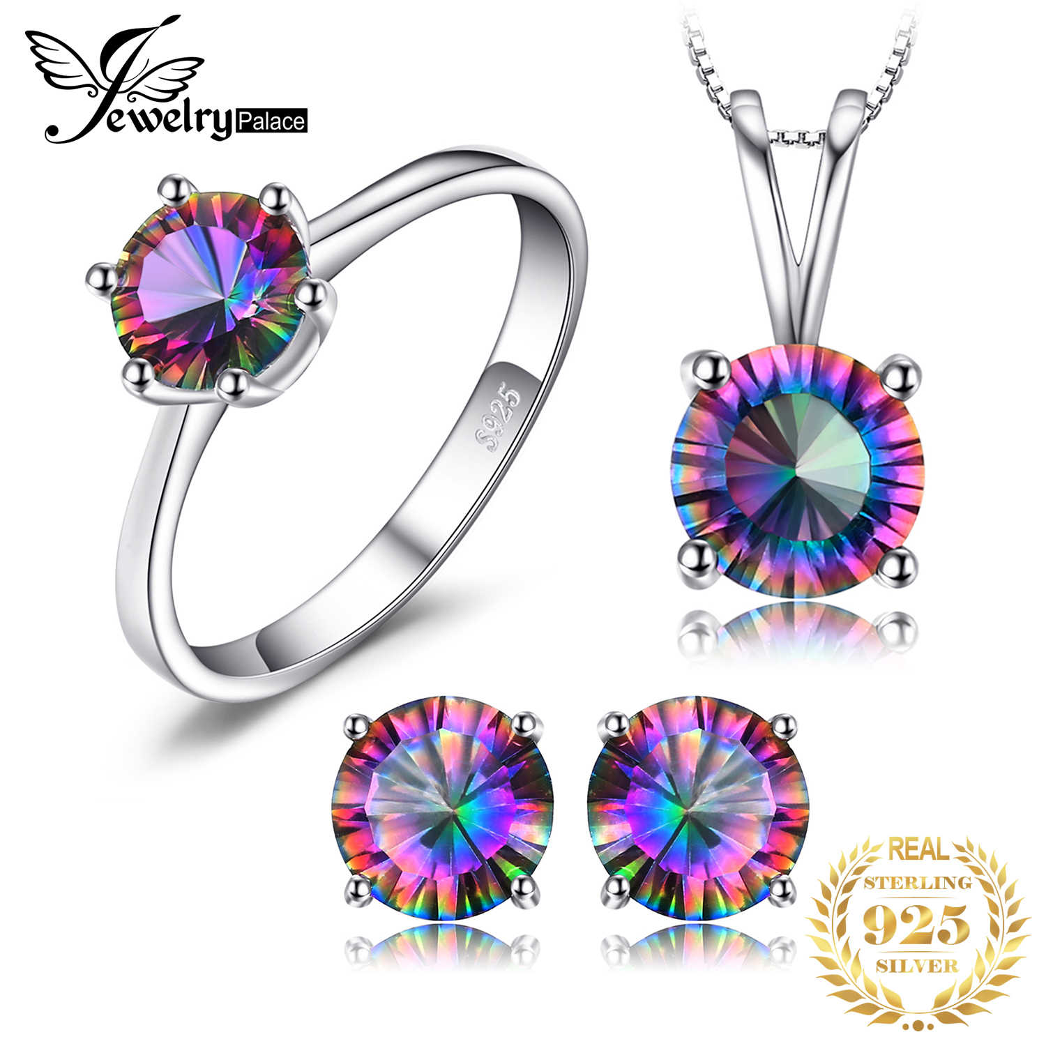 JewelryPalace Natural Rainbow Fire Mystic Topaz Pendants Necklaces Rings Earrings 925 Sterling Silver Jewelry Sets For Women