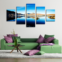 5 Panels No Frame Mountain Sky Lake Scenery Hd Canvas Printed Oil Painting By Numbers Wall