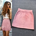 2016 new autumn and winter Vintage Art empire Suede a-line solid pink black Light tan Burgundy color woman sweet Leisure skirt