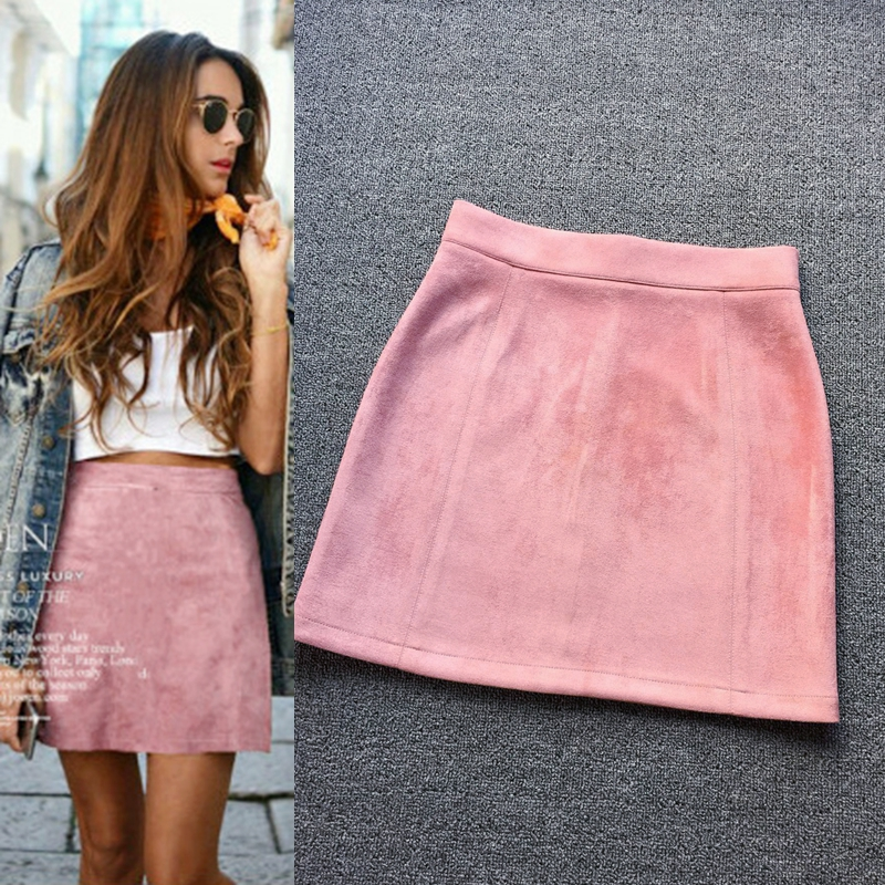 2018 New Autumn And Winter Vintage Art Empire Suede A-line Solid Pink Black Light Tan Burgundy Color Woman Sweet Leisure Skirt