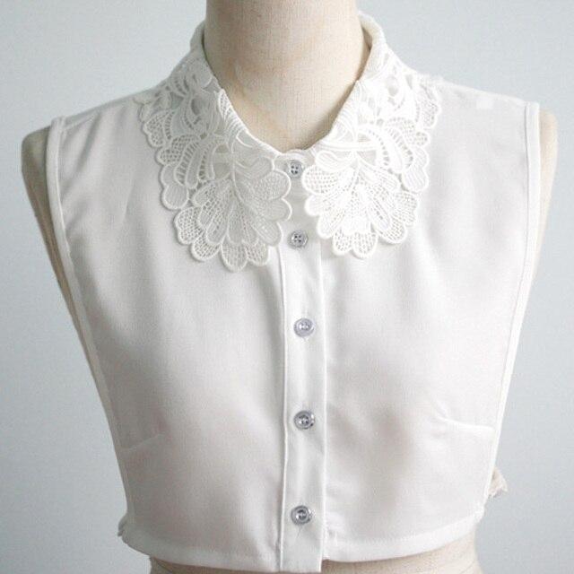 50f70365da Mujeres accesorios ropa DOTS Peter Pan falso desmontable sólido redondo  blanco Masajeadores de cuello solapa blusa