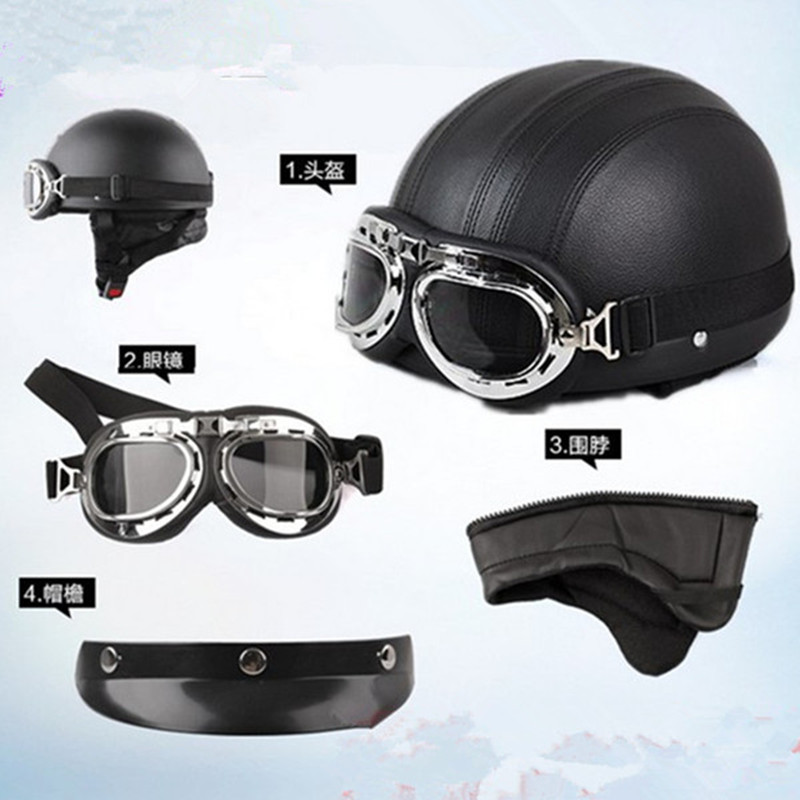 Brand New Vintage Vintga Motorcycle Bike Helmet Harley Open Face Retro Half Helmets Moto Motocicleta Capacete k with Goggles