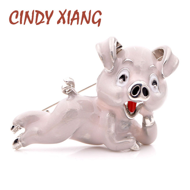 CINDY XIANG Novo 2018 Esmalte Broches para As Mulheres Bonito Pequeno e Encantador Porco Animal Broche Pin Rosa Cor Disponível Chinês Porco ano